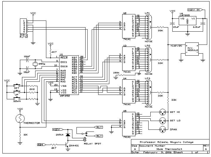 fluorescent tube wiring diagram » nixie tube thermostat | professor mark csele nixie tube wiring diagram